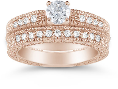 14K Rose Gold 0.98 Carat Victorian Diamond Engagement Set