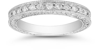 Floret White Topaz Wedding Band