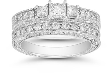 1 Carat Three Stone Princess Cut Floret Diamond Bridal Set