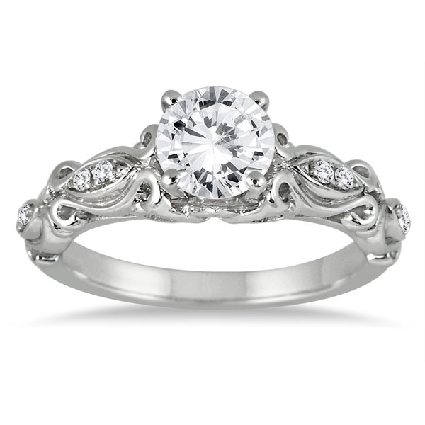 e35ffdc15 1 Carat Victorian-Style Diamond Engagement Ring in 14K White Gold