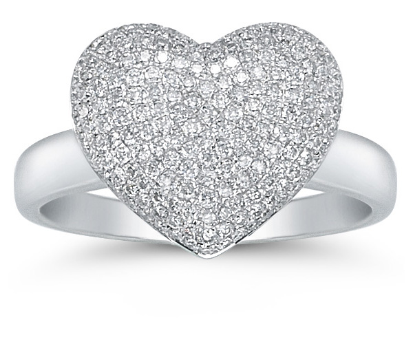 0.75 Carat Diamond Pave Heart Ring