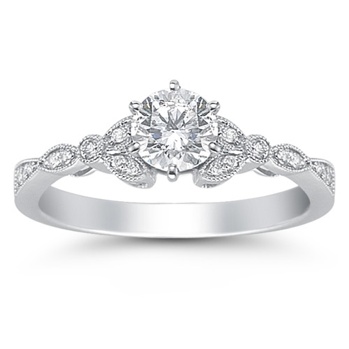 0.95 Carat Diamond Flora Ring in 14K White Gold (Rings, Apples of Gold)