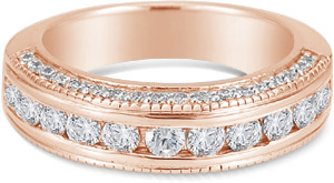 1 Carat Channel Set Diamond Wedding Band,14K Rose Gold