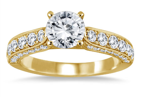 1 7/8 Carat Antique-Style Diamond Engagement Ring, 14K Yellow Gold