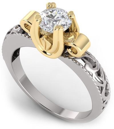 Art Deco 1/2 Carat Diamond Ring - 14K Two-Tone Gold