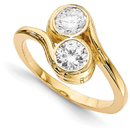 Half Carat Bezel Set Diamond 2 Stone Ring in 14K Yellow Gold