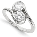 Half Carat Bezel Set Diamond 2 Stone Ring in 14K White Gold