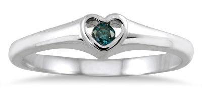 Blue Diamond Heart Solitaire Ring, 14K White Gold