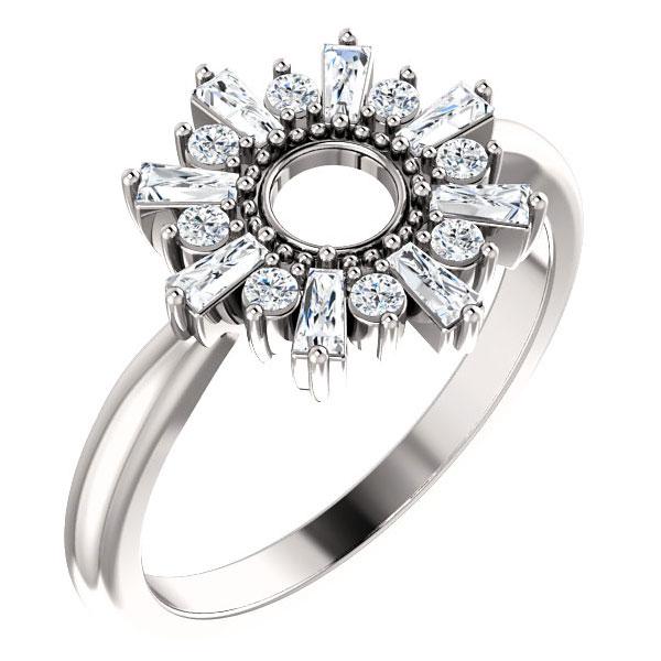 Circle of the Sun Diamond Baguette Ring, 14K White Gold