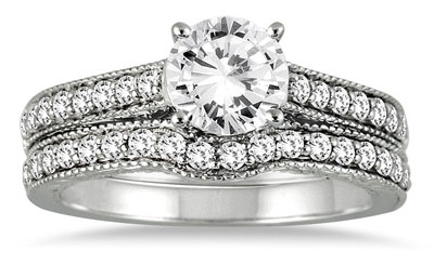 1 1/4 Carat Diamond Antique-Style Bridal Ring Set, 14K White Gold