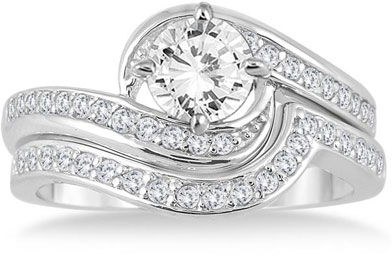 1 12 carat diamond bridal ring set in 14k white gold - White Gold Wedding Rings Sets