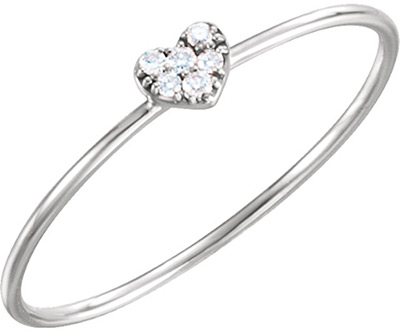Diamond Cluster Heart Ring, 14K White Gold