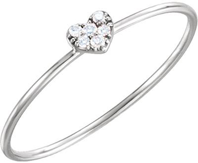 Diamond Cluster Heart Ring, 14K White Gold