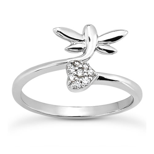 Dragonfly and Diamond Heart Ring in 14K White Gold