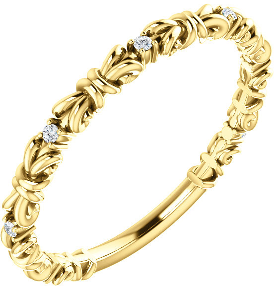Golden Knot Diamond Stackable Ring