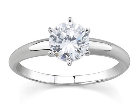 1/2 Carat Round Diamond Solitaire Ring, 14K White Gold