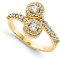 2 Stone Diamond Ring in 14k Yellow Gold Halo Design