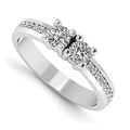 Half Carat Next to You 2 Stone Diamond Ring, 14K White Gold
