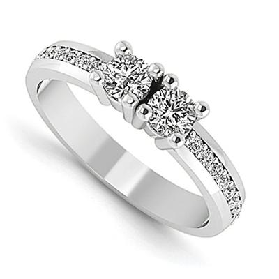 1/2 Carat NEXT TO YOU 2 STONE DIAMOND RING, 14K WHITE GOLD