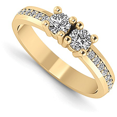 Half Carat Next to You 2 Stone Diamond Ring, 14K Yellow Gold