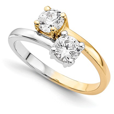 diamond hearts wedding tone rings engagement in two ring gold