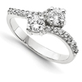 Only Us 2 Stone 0.30 Carat Diamond Ring in 14K White Gold