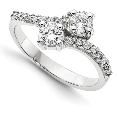 Only us 2 Stone 0.20 Carat Diamond Ring in 14K White Gold