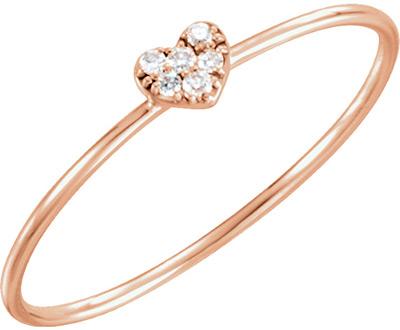 Rose Gold Diamond Cluster Heart Ring