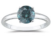 0.50 Carat Round Blue Diamond Solitaire Ring in 14k White Gold