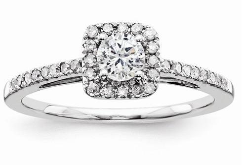 0.53 Carat Carat Square Halo Diamond Engagement Ring