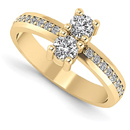 2 Stone Diamond Ring in 14K Yellow Gold
