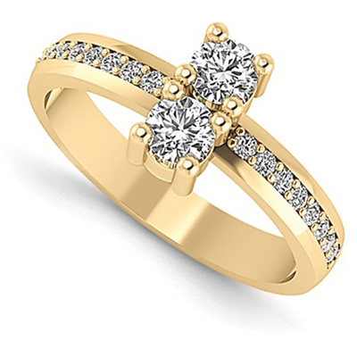 0.20 Carat Two Stone Diamond Ring in 14K Yellow Gold