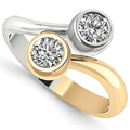 Two Tone 14K Gold Bezel Set 2 Stone Diamond Ring