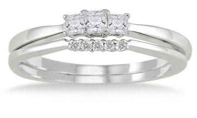 White Princess Cut Diamond Bridal Ring Set, 10K White Gold