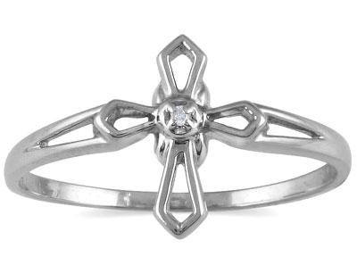 Women's Diamond Cross Ring in 10K White Gold