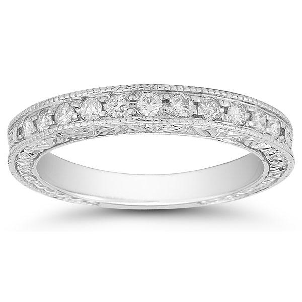 Platinum Floret Diamond Wedding Band Ring