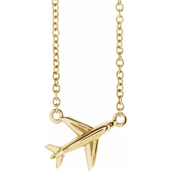 14K Gold Airplane Necklace