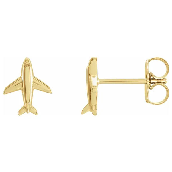 14K Gold Airplane Stud Earrings