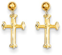 14K Gold Dangle Cross Post Earrings