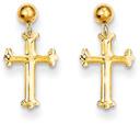14K Gold Dangle Cross Post Earrings