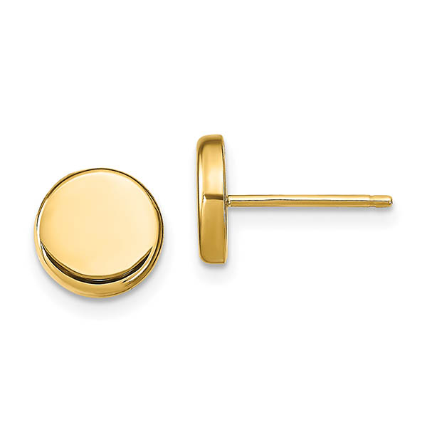 Small 14K Gold Polished Button Post Earrings