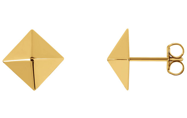 Pyramid Stud Earrings, 14K Gold