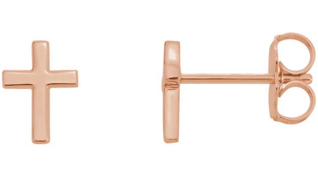 14K Rose Gold Cross Stud Earrings