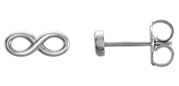 14K WHITE GOLD INFINITY STUD EARRINGS
