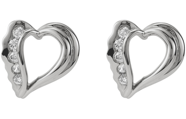 14K White Gold Organic Heart Diamond Earrings
