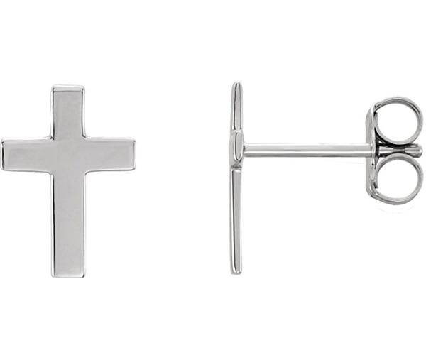 14K White Gold Plain Polished Christian Cross Stud Earrings