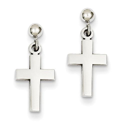 14K White Gold Plain Cross Earrings