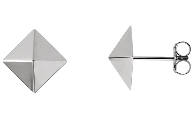 14K White Gold Pyramid Earrings