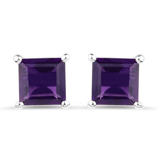 2.25 Carat Princess-Cut Amethyst Stud Earrings, Sterling Silver