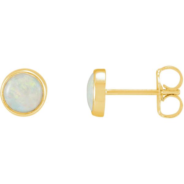 5mm Bezel-Set Opal Stud Earrings